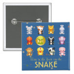 Chinese Zodiac Animals Year of the Snake 15 Cm Square Badge