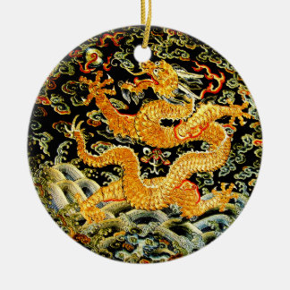 Chinese zodiac antique embroidered golden dragon christmas ornament