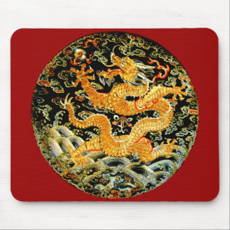 Chinese zodiac antique embroidered golden dragon mouse pad