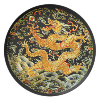 Chinese zodiac antique embroidered golden dragon plate