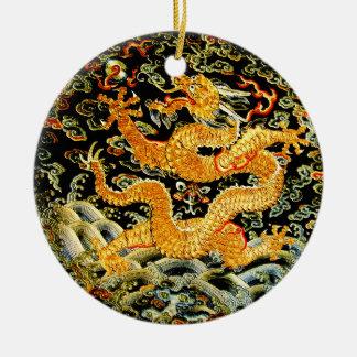 Chinese zodiac antique embroidered golden dragon round ceramic decoration