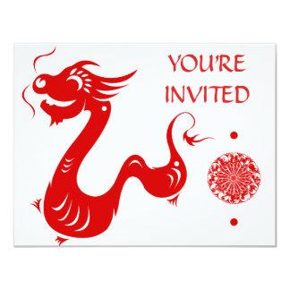 CHINESE ZODIAC DRAGON PAPERCUT ILLUSTRATION 11 CM X 14 CM INVITATION CARD