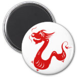 CHINESE ZODIAC DRAGON PAPERCUT ILLUSTRATION 6 CM ROUND MAGNET