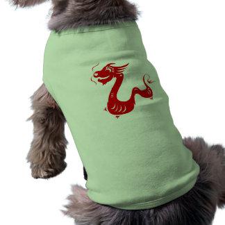 CHINESE ZODIAC DRAGON PAPERCUT ILLUSTRATION SLEEVELESS DOG SHIRT