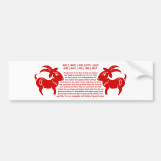 CHINESE ZODIAC GOAT PAPERCUT ILLUSTRATION BUMPER STICKER
