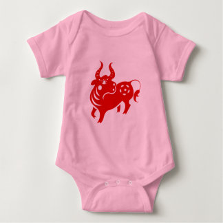 CHINESE ZODIAC OX PAPERCUT ILLUSTRATION BABY BODYSUIT