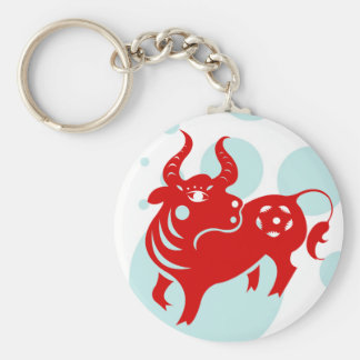 CHINESE ZODIAC OX PAPERCUT ILLUSTRATION BASIC ROUND BUTTON KEY RING