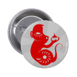 CHINESE ZODIAC PAPERCUT MONKEY ILLUSTRATION 6 CM ROUND BADGE