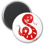 CHINESE ZODIAC PAPERCUT SNAKE ILLUSTRATED SHIRT 6 CM ROUND MAGNET