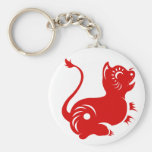 CHINESE ZODIAC PAPERCUT TIGER ILLUSTRATED BASIC ROUND BUTTON KEY RING