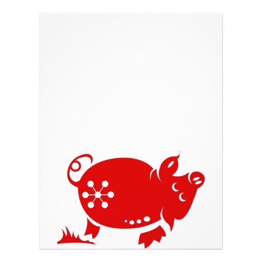 CHINESE ZODIAC PIG PAPERCUT ILLUSTRATION FULL COLOR FLYER