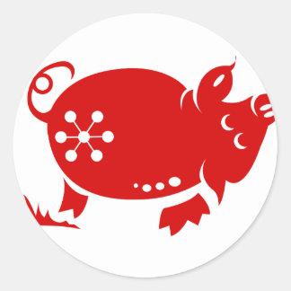 CHINESE ZODIAC PIG PAPERCUT ILLUSTRATION ROUND STICKERS