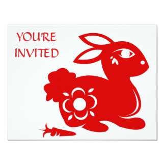 CHINESE ZODIAC RABBIT PAPERCUT ILLUSTRATION 11 CM X 14 CM INVITATION CARD