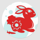 CHINESE ZODIAC RABBIT PAPERCUT ILLUSTRATION CLASSIC ROUND STICKER