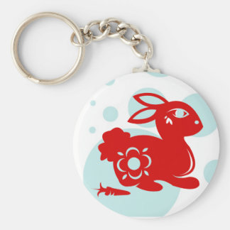 CHINESE ZODIAC RABBIT PAPERCUT ILLUSTRATION KEY RING