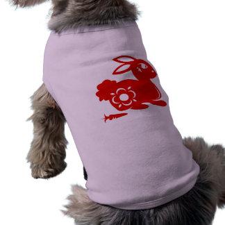 CHINESE ZODIAC RABBIT PAPERCUT ILLUSTRATION SLEEVELESS DOG SHIRT