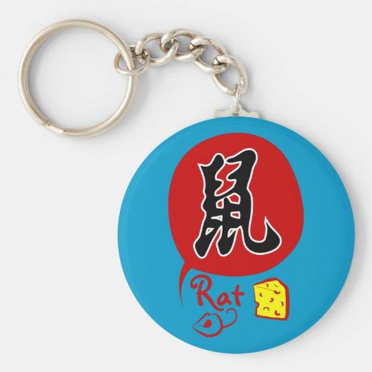 Chinese Zodiac Rat in Kanji Keychain