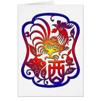Chinese Zodiac Rooster Card