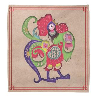 Chinese Zodiac Rooster Papercut Bandana