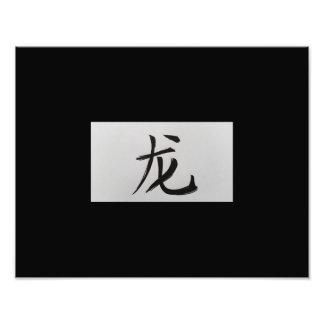 Chinese zodiac sign Dragon black Photo Print