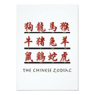 "Chinese Zodiac Symbols 5"" X 7"" Invitation Card"