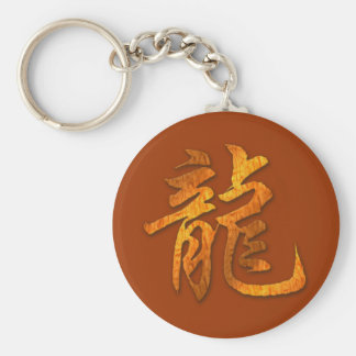 Chinese Zodiac Wood Dragon Basic Round Button Key Ring