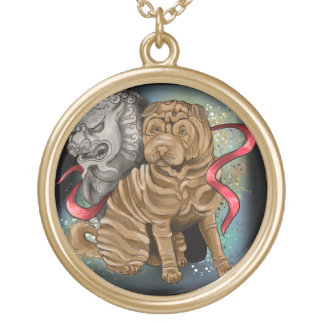 Chinese Zodiac Year of the Dog Gold Plated Necklace