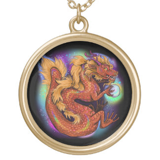 Chinese Zodiac Year of the Dragon Gold Plated Necklace