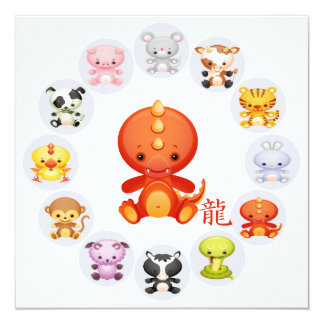 Chinese Zodiac Year of the Dragon Party Card