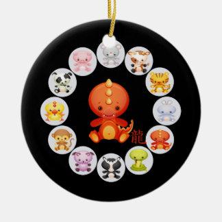 Chinese Zodiac Year of the Dragon Round Ceramic Decoration
