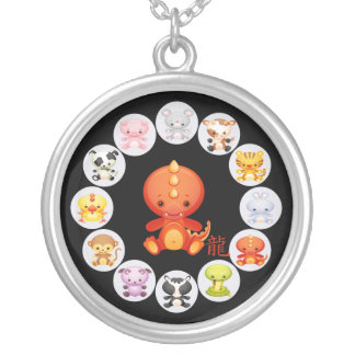 Chinese Zodiac Year of the Dragon Silver Plated Necklace