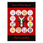 Chinese Zodiac Year of the Horse Birthday Party Personalised Invitation