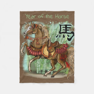 Chinese Zodiac Year of the Horse Fleece Blanket