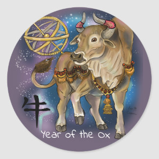 Chinese Zodiac Year of the Ox Classic Round Sticker