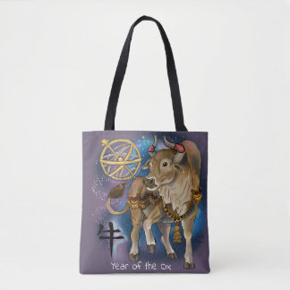 Chinese Zodiac Year of the Ox Tote Bag