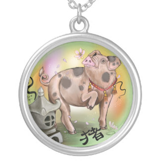 Chinese Zodiac Year of the Pig Silver Plated Necklace