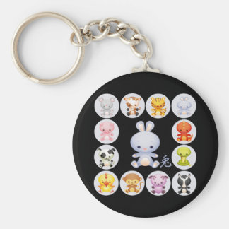 Chinese Zodiac Year of the Rabbit Basic Round Button Key Ring