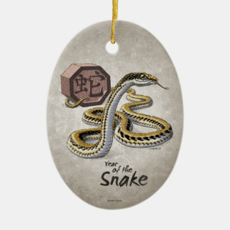Chinese Zodiac Year of the Snake Art Christmas Ornament