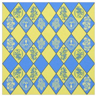 Chinoiserie Blue and Yellow Diamond Pattern Fabric