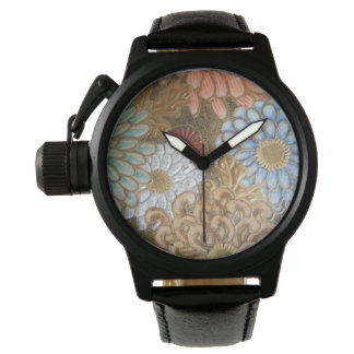 Chinoiserie Crown Protector Black Leather Watch