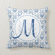 Chinoiserie Delft Blue Monogram•Custom Cushion