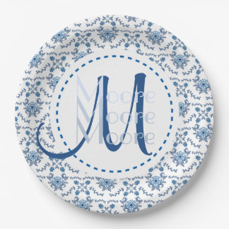 Chinoiserie Delft Blue Pattern•Custom 9 Inch Paper Plate