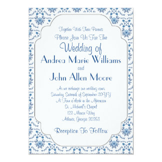 Chinoiserie Delft Blue Pattern•Custom Wedding 13 Cm X 18 Cm Invitation Card