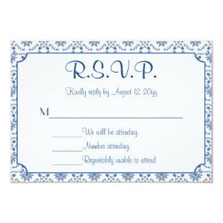 Chinoiserie Delft Blue Pattern•Custom Wedding RSVP 9 Cm X 13 Cm Invitation Card
