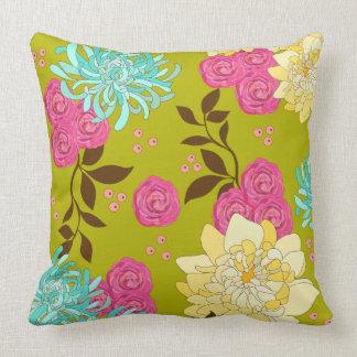 Chinoiserie Floral Design Emerald Green Cushion