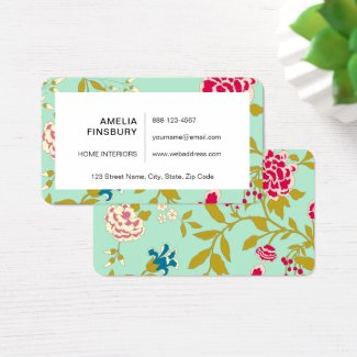 Chinoiserie Floral Design Jade Green Business Card