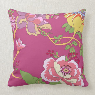 Chinoiserie Floral Design Poppy Pink Throw Pillow