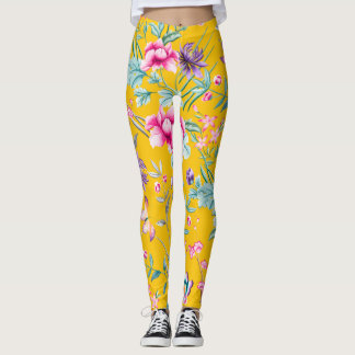 Chinoiserie Floral Leggings - yellow background