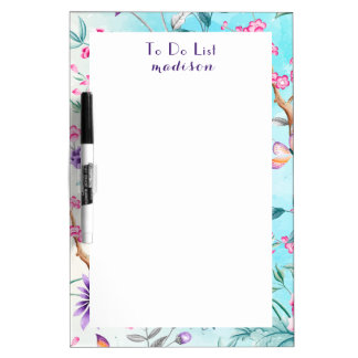 Chinoiserie Floral Pattern Dry Erase Board