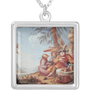 Chinoiserie Square Pendant Necklace